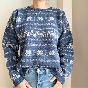 Vtg Woolrich Sweater Winter Blue Print L Wool